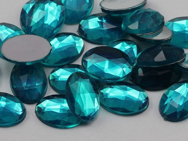 14x10mm Blue Zircon .BZ Flat Back Oval Acrylic Gemstones 45 PCS