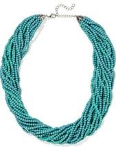 KENNETH JAY LANE KJL silver tone turquoise blue multi strand beaded neck... - $84.15