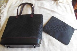 Victoria's Secret Black Large Tote Bag & Matching Pouch/Make-up Bag - $44.55
