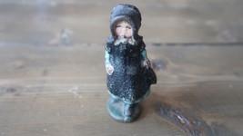 ANTIQUE Cast Iron Toy Girl Figure Pilgrim 3 inches - $30.68