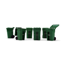 Set of 6 Green Garbage Trash Bin Containers Replica 1/34 Models by First... - $22.49