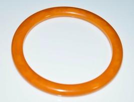 VTG Butterscotch Yellow Orange Marbled BAKELITE Bangle Bracelet - $123.75