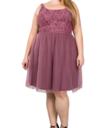 Sleeveless plus size lace top midi dress with tulle skirt - $19.99