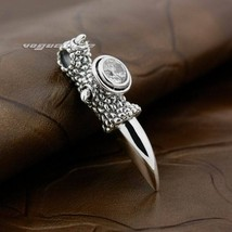 LINSION 925 Sterling Silver Huge Dragon Claw White CZ Pendant Necklace for Mens image 7