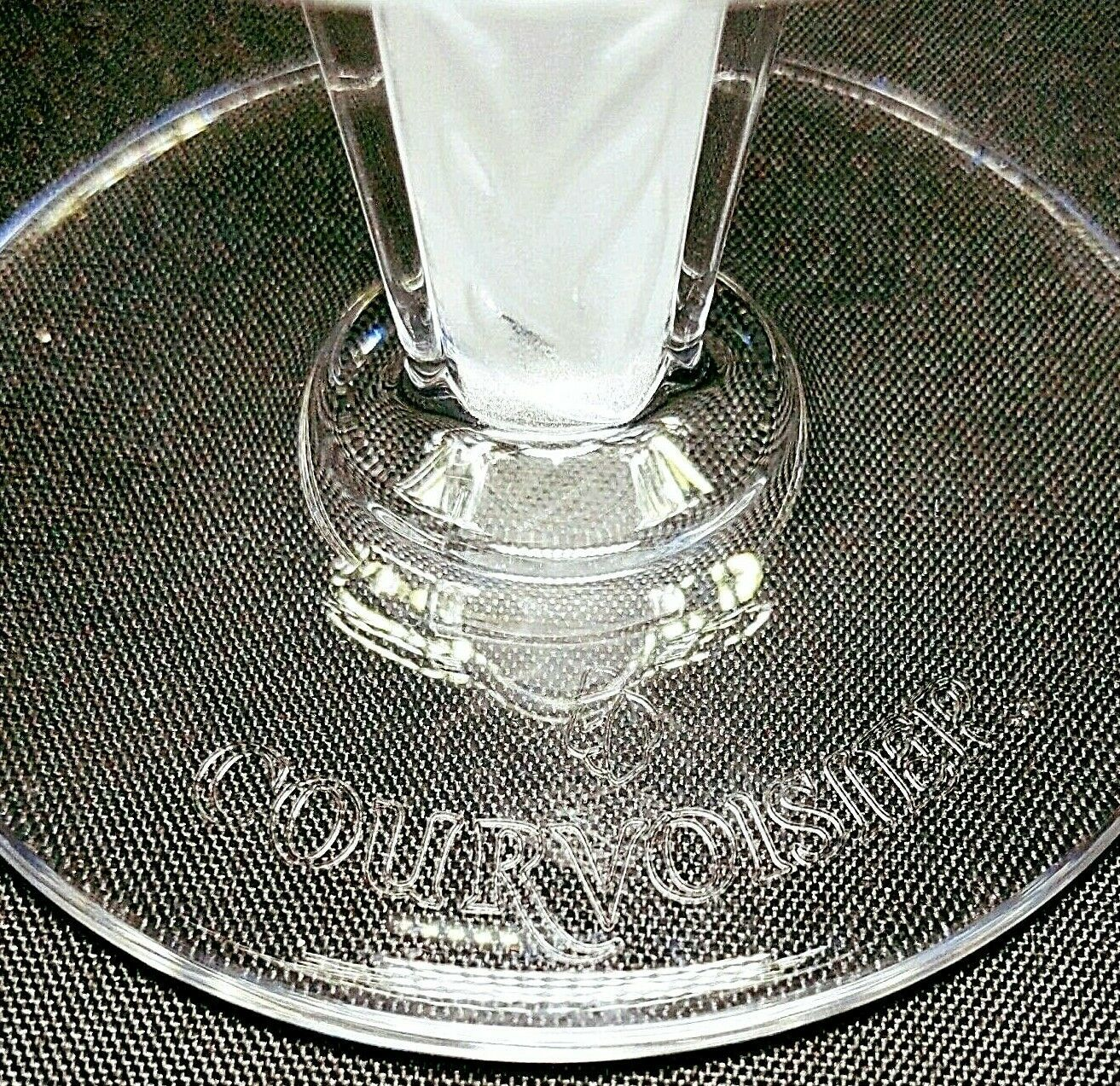 4 (Four) COURVOISIER CRYSTAL COGNAC GLASS / SNIFTER w Frosted Art Deco Stem image 5