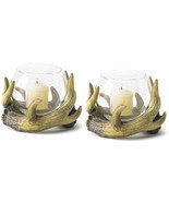 Two (2) rustic antler wreath glass globe patio deck cabin table candle h... - $26.40 CAD