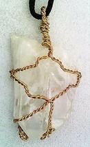 Quartz Crystal Brass Wire Wrap Pendant 2 - $24.93