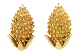 VTG CORO Gold Tone Acorn Wheat Screwback Clip Earrings - $19.80