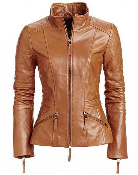 WOMEN BIKER MOTORCYCLE CASUAL SLIM FIT RIDER REAL GENUINE  LEATHER JACKET-A47