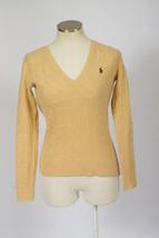 Vtg 90s RALPH LAUREN SPORT Tan Cream Cable Knit Lambs Wool V Neck Sweate... - $24.74