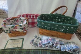 Longaberger Set of 2 Wall Hanging Baskets with Leather Handle & Extras 1995 - $18.70