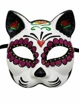 Sugar Skull Cat Flower Masquerade Mardi Gras Halloween Mask - $16.82