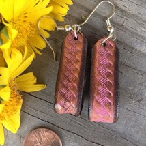 Hand tooled leather Basket Weave Earrings accented in Pink - $15.00