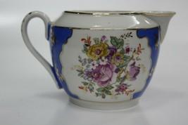 Soviet USSR Polonne Porcelain Creamer 50's Floral White Blue Gold Hand P... - $27.69