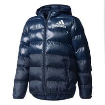 Adidas Kids Boys Jacket Youth Squad Padded Training Running Coat Blue CF... - $76.95