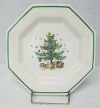Christmastime Nikko Plate Discontinued Green Trim Christmas Tree Gifts B... - $35.64
