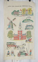 Vtg HENRY FORD MUSEUM & GREENFIELD VILLAGE 100% Pure Linen Tea Kitchen T... - $8.86
