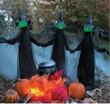 Outdoor HALLOWEEN PROP Lighted Witches Yard Decoration Scary Witch Garde... - €99,55 EUR