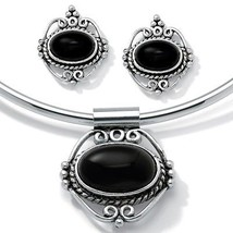 Genuine Onyx Silvertone Necklace and Earrings Set - $13.62