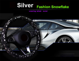 Car Silver Shiny Snowflake Steering Wheel Cover Anti-slip Cute Car Styli... - $18.68