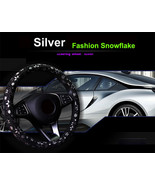 Car Silver Shiny Snowflake Steering Wheel Cover Anti-slip Cute Car Styli... - $18.68