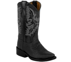 Kids Toddler Cowboy Boots Bull Buffalo Print Leather Western Point Toe B... - $44.98