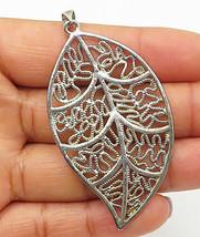 925 Sterling Silver - Vintage Swirl Filigree Leaf Designed Pendant - P5912 - $28.16