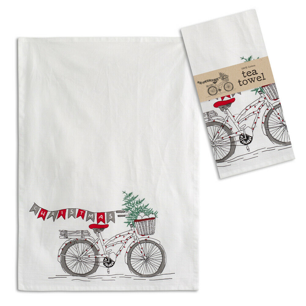 Farmhouse (4pk) CHRISTMAS BICYCLE TEA TOWEL Dish Rag Country Winter Tree Kitchen image 2