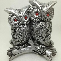 "OWL COUPLE FIGURINE Silver Scroll Pattern Red Eyes 6"" Tall Gift Decor GS... - $8.68"