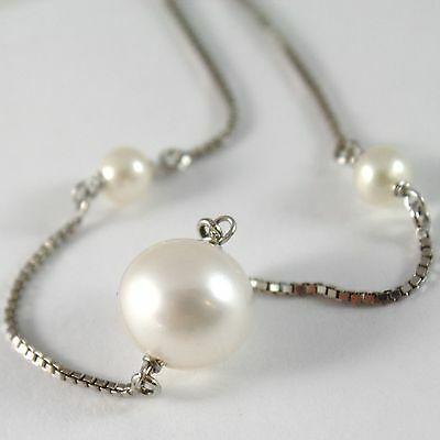 Bracelet White Gold 750 18K White Pearls Diameter 4 & 10 mm Chain, Veneta