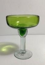 "Hand Blown Glass Mexican 6"" Margarita Glass Goblet Green Bowl w/Clear Stem - $7.18"