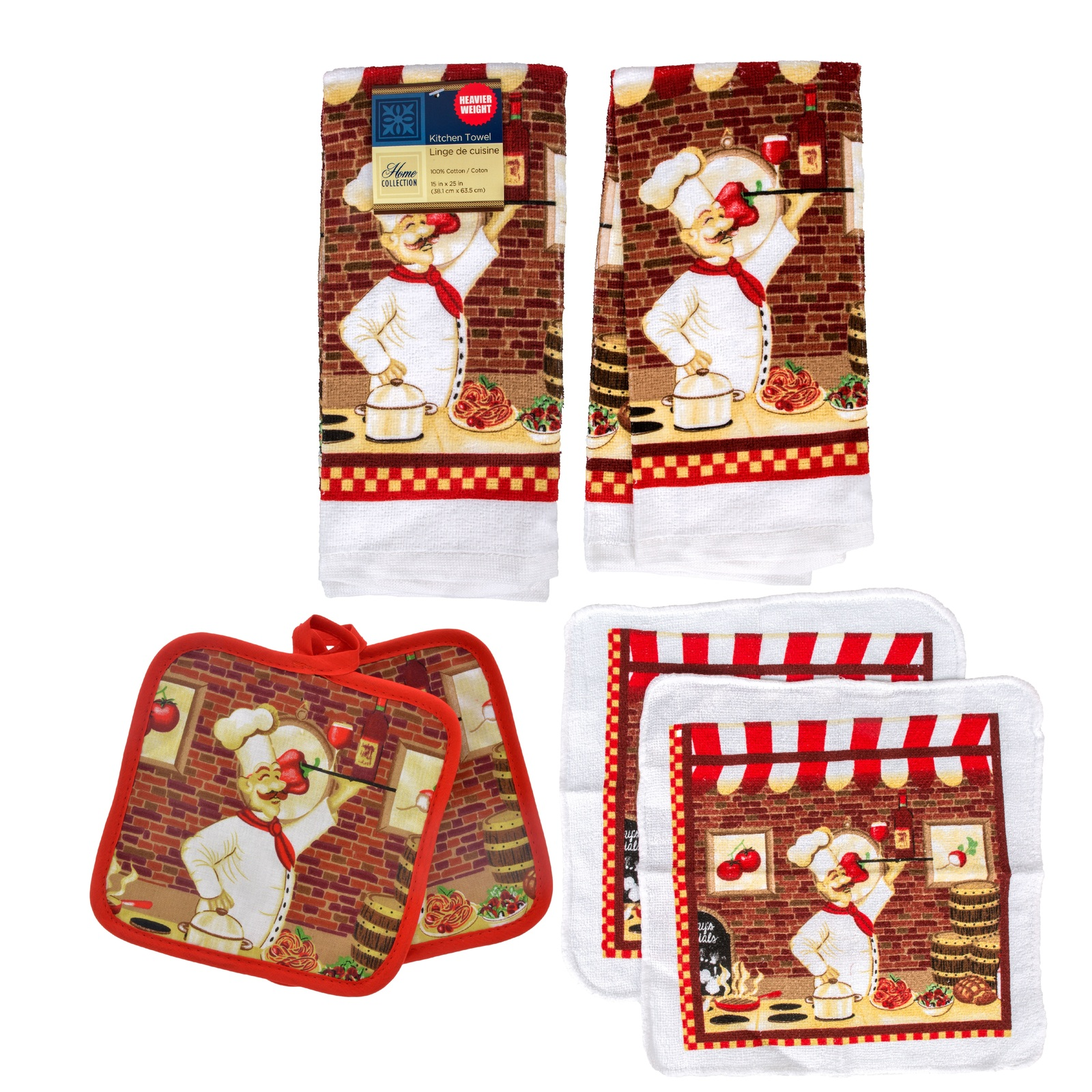 RED WINE FAT CHEF KITCHEN SET 6pc Towels Potholders Dishcloths Bistro Cook NEW - $14.99