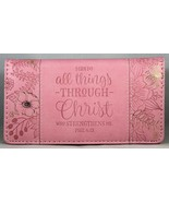 """Checkbook Cover Pink """"I Can Do All Things Through Christ"""" Phil 4:13 Bran... - $13.10"""
