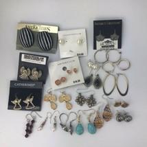 Earring Lot 20 Pairs Pierced Earrings Modern & VTG Pearl Hoop Hook Post ... - $24.70