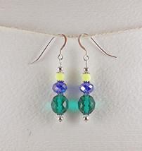 Dangle Drop Earrings Handmade Small Green Blue Yellow Glass Bead Sterlin... - $8.00