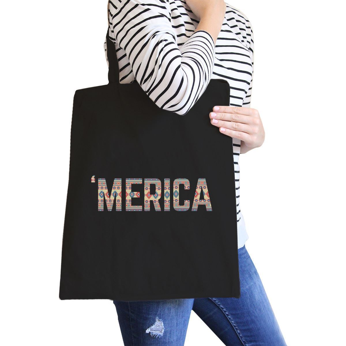 Primary image for With 'merica Black Canvas Bag Tribal Pattern America Lettering Bag