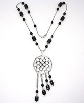 Silver necklace 925, Onyx Black Tube, Locket Stars and Circles, Waterfall image 2