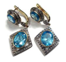 Victorian 2.00ct Rose Cut Diamond Blue Topaz Wedding Earrings - $667.45