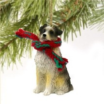AUSTRALIAN SHEPHERD DOG DOCKED CHRISTMAS ORNAMENT HOLIDAY Figurine Scarf... - $9.50