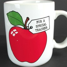 For A Special Teacher Red Apple Checklist Vintage Coffee Mug Cup Japan H... - $19.30