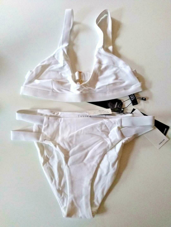 Tavik Ribbed White Halter Bikini Set Size X Small