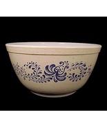 "Pyrex Blue Folk Art 1 1/2 Qt 7"" Mixing Bowl 402 Quart 1.5 Liter Floral B... - $10.95"