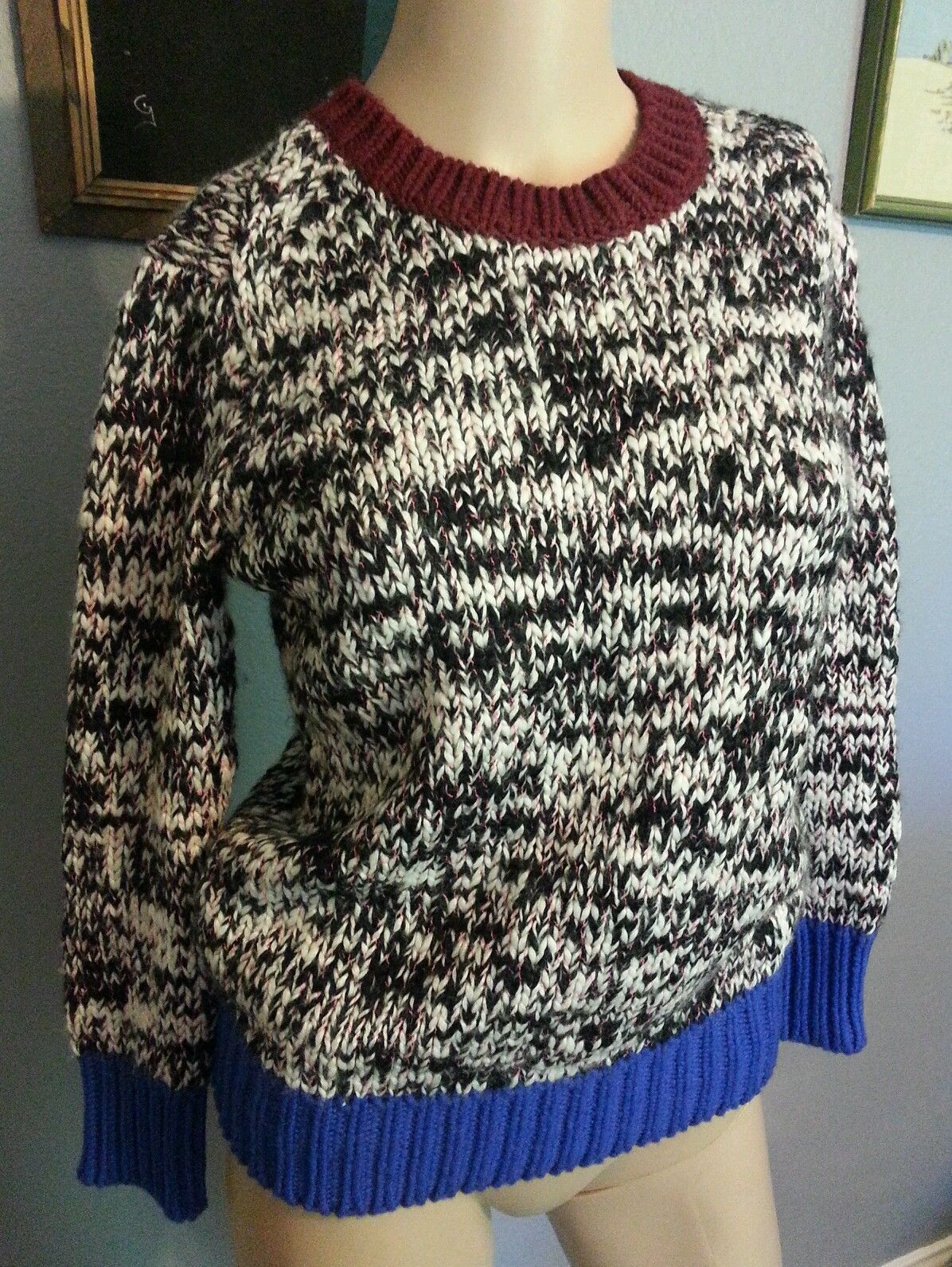Primary image for RARE J Crew Marled Colorblock Multicolor Wool Blend Sweater XXS