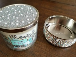 Bath & Body Works Magic in the Air Large 3 Wick Candle & Holder Pearl Bling LE - $38.52
