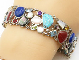 925 Sterling Silver - Vintage Multi-Gemstone Mosaic Style Chain Bracelet... - $134.83