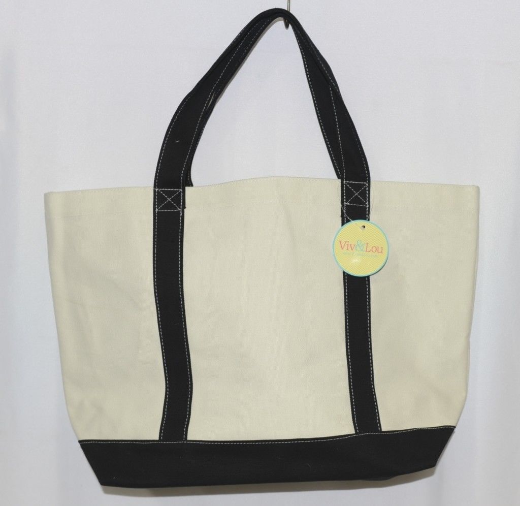 Viv and Lou M730VLBLK Sullivan Collection Canvas Black Accents Tote