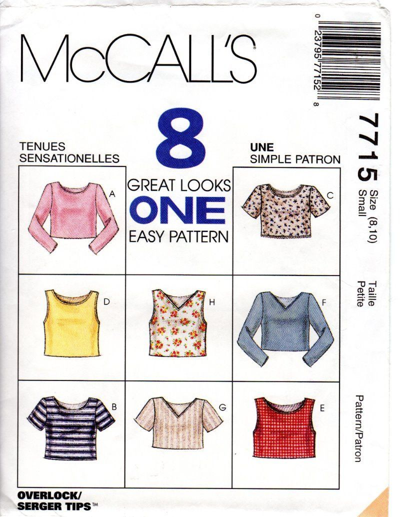 Mccall's 7715 Sewing Pattern: 1 listing