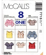 McCall's 7715 Misses' Tops in 2 Lengths 8 Great Looks Size Small 8-10 UN... - $9.47