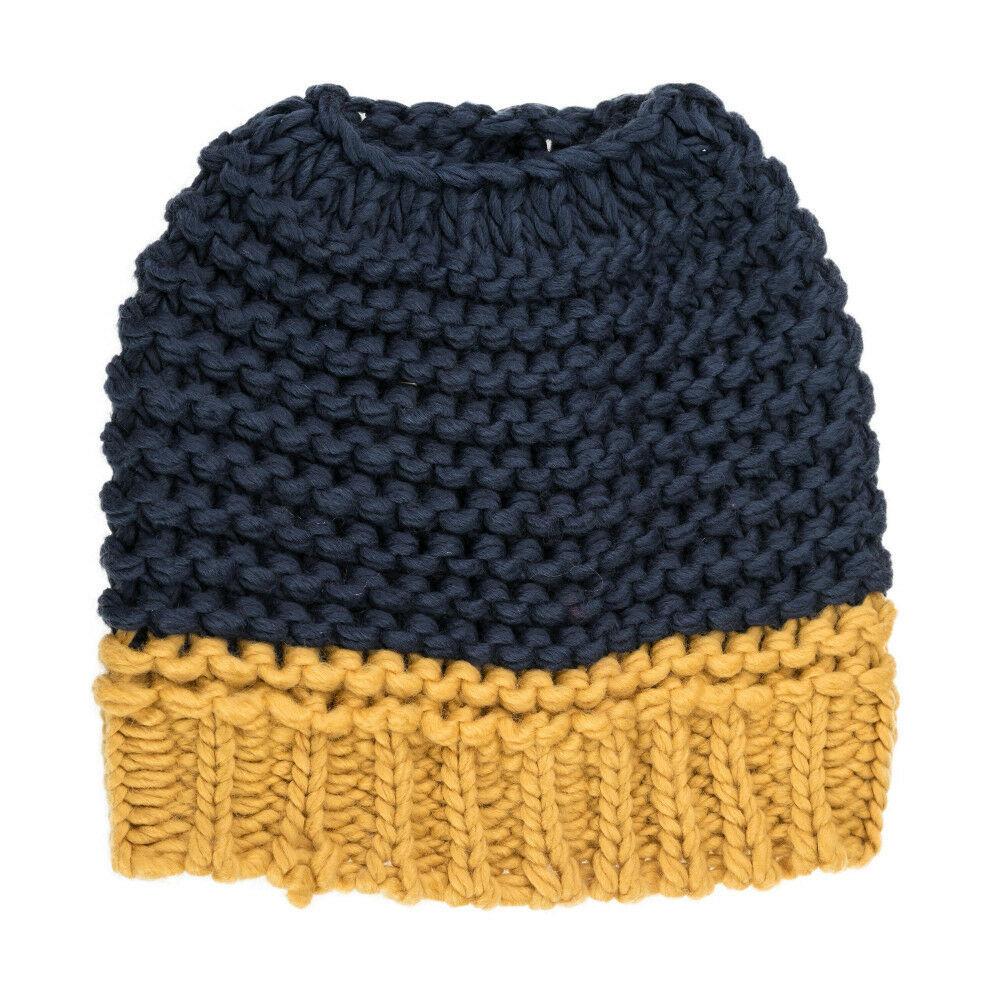 Navy Yellow Messy Bun Ponytail Beanie Cap Hat - Michigan Wolverines Colors