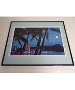 VINTAGE 1970s Eventide at Waikiki Hawaii Framed 16x20 Poster Display - $79.19